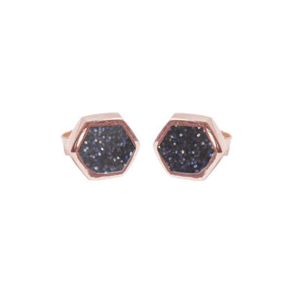 Rose Gold Blue Goldstone Hexagonal Stud Earrings
