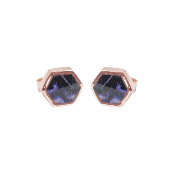 Rose Gold Blue John Hexagonal Stud Earrings