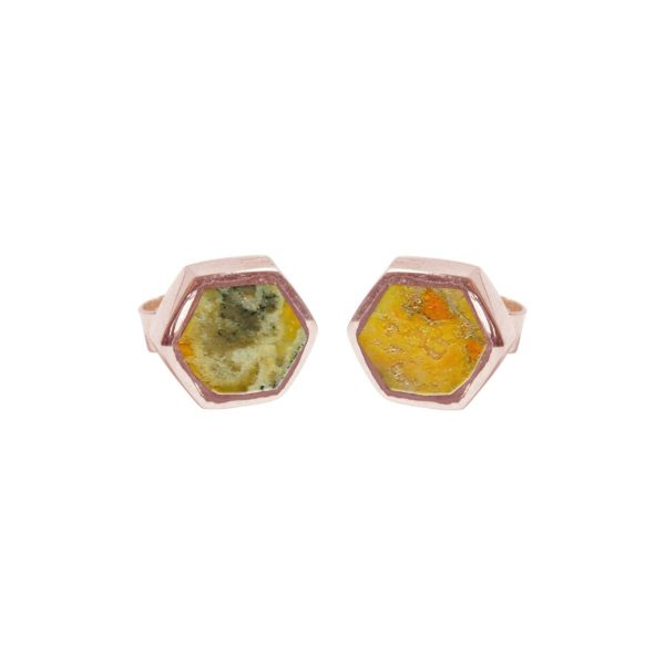 Rose Gold Bumblebee Hexagonal Stud Earrings