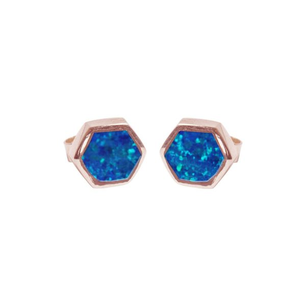 Rose Gold Opalite Cobalt Blue Hexagonal Stud Earrings