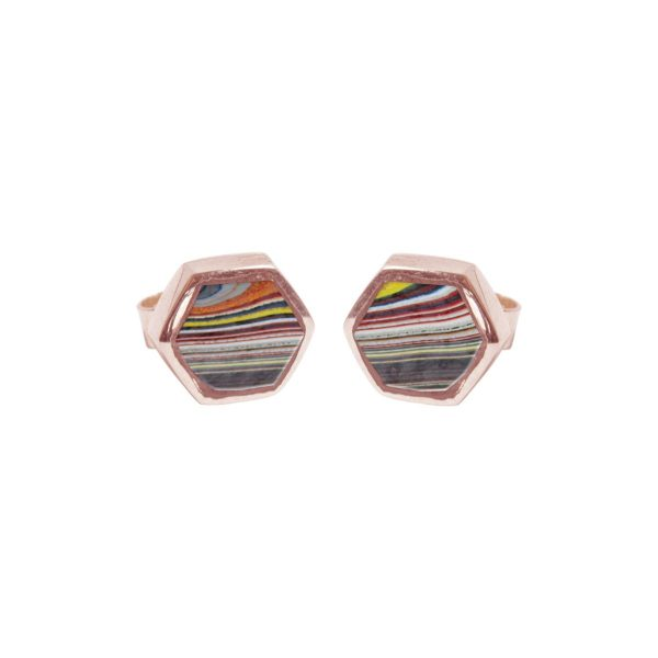 Rose Gold Fordite Hexagonal Stud Earrings
