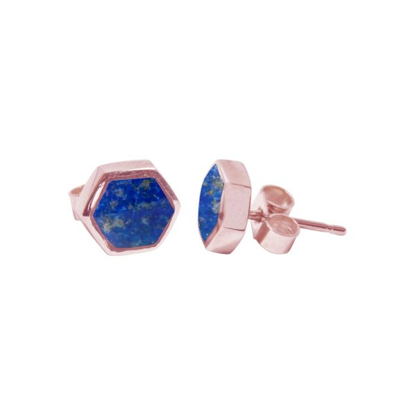 Rose Gold Lapis Hexagonal Stud Earrings