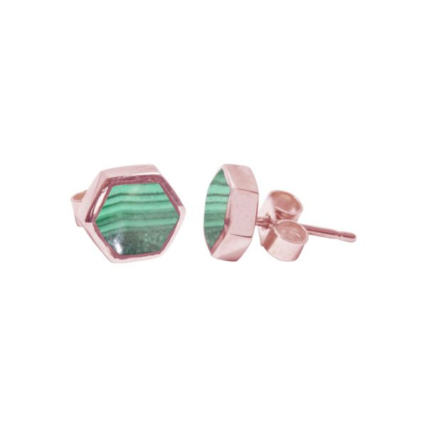 Rose Gold Malachite Hexagonal Stud Earrings