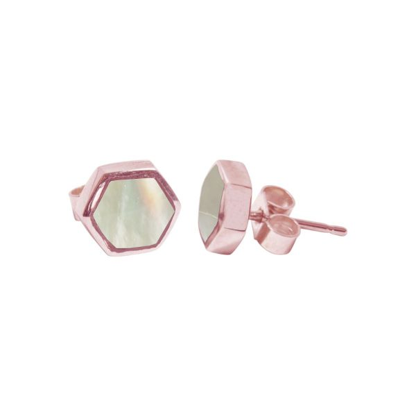 Rose Gold Mother of Pearl Hexagonal Stud Earrings
