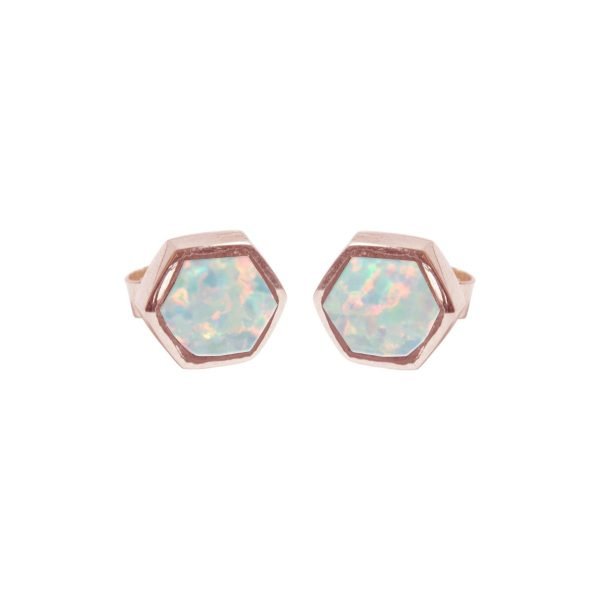 Rose Gold Opalite Sun Ice Hexagonal Stud Earrings