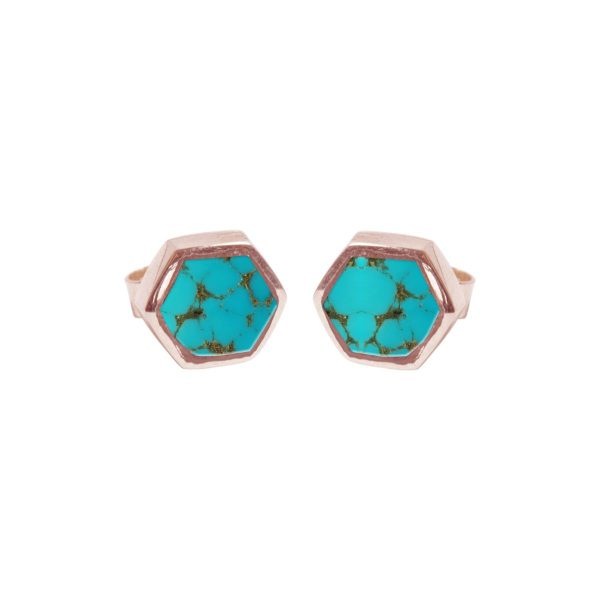 Rose Gold Turquoise Hexagonal Stud Earrings
