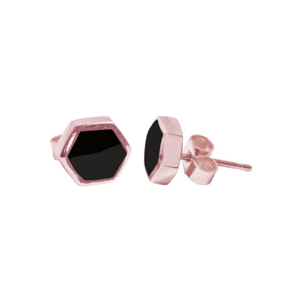 Rose Gold Whitby Jet Hexagonal Stud Earrings
