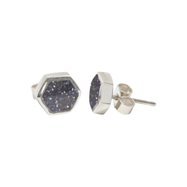 Silver Blue Goldstone Hexagonal Stud Earrings