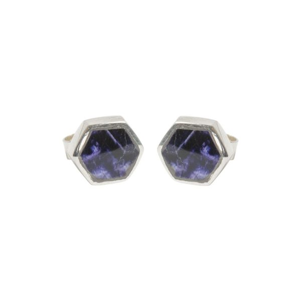 Silver Blue John Hexagonal Stud Earrings