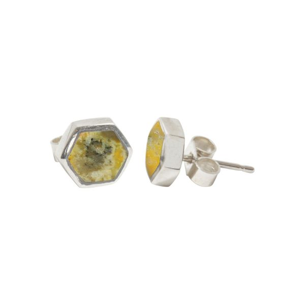 Silver Bumblebee Jasper Hexagonal Stud Earrings