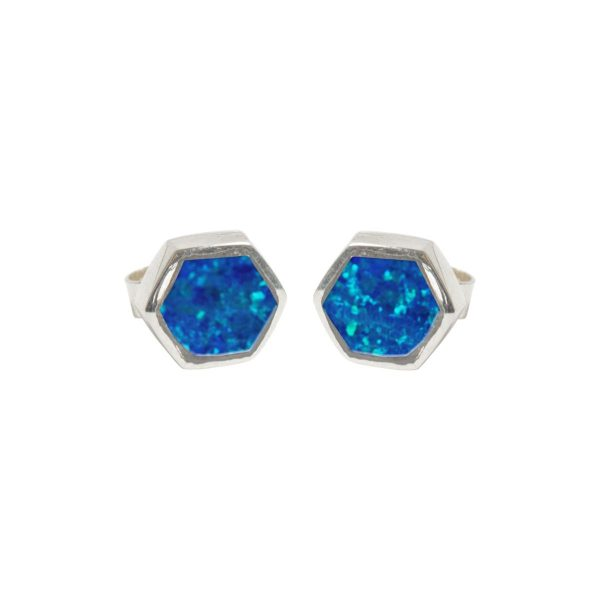 Silver Opalite Cobalt Blue Hexagonal Stud Earrings