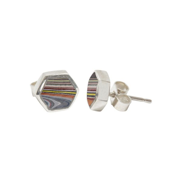 Silver Fordite Hexagonal Stud Earrings