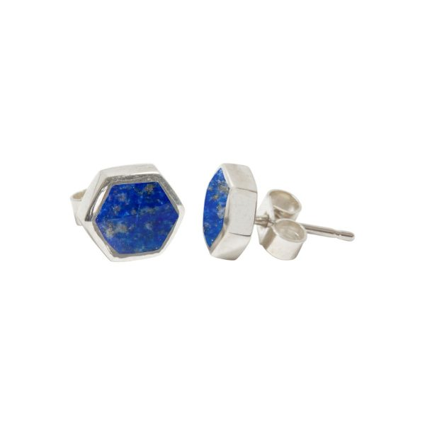 Silver Lapis Hexagonal Stud Earrings
