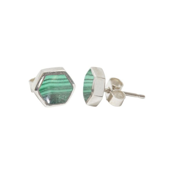Silver Malachite Hexagonal Stud Earrings