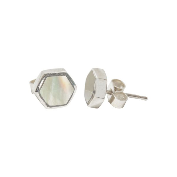 Silver Mother of Pearl Hexagonal Stud Earrings