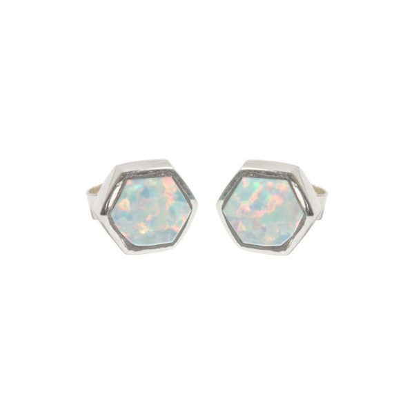 Silver Opalite Sun Ice Hexagonal Stud Earrings