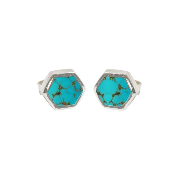 Silver Turquoise Hexagonal Stud Earrings