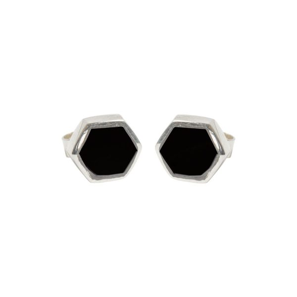 Silver Whitby Jet Hexagonal Stud Earrings