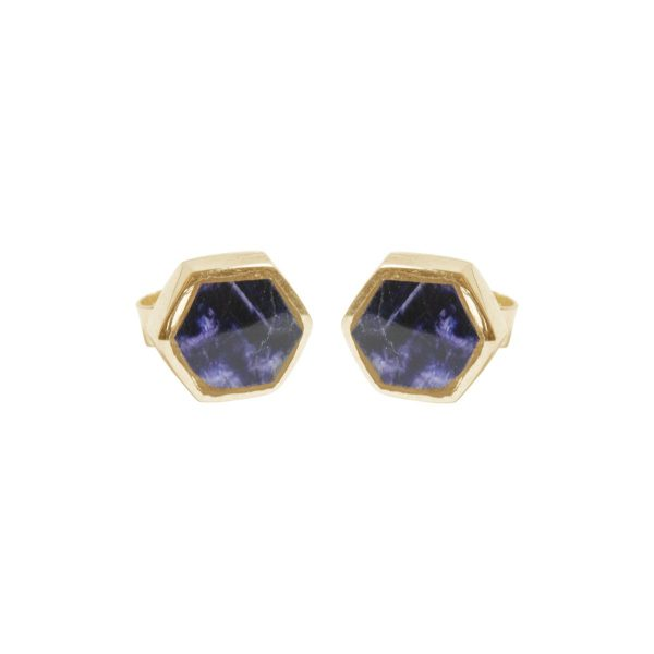 Gold Blue John Hexagonal Stud Earrings
