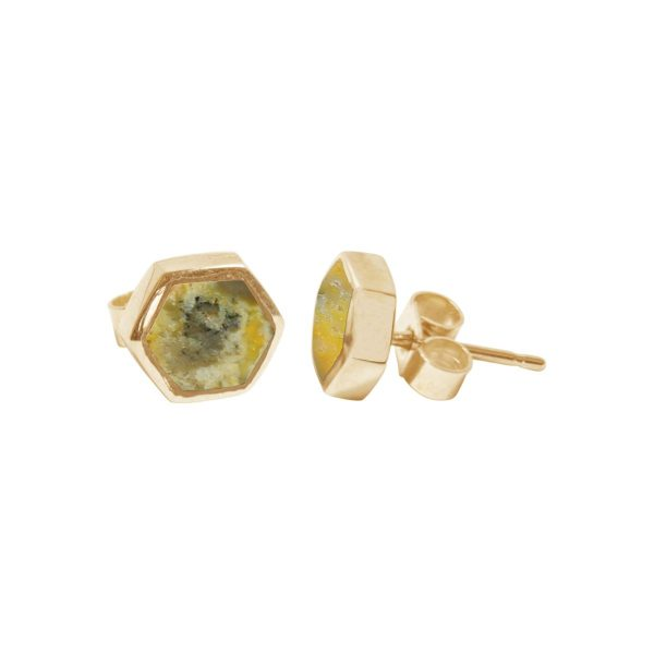 Gold Bumblebee Jasper Hexagonal Stud Earrings