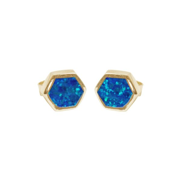 Gold Opalite Cobalt Blue Hexagonal Stud Earrings