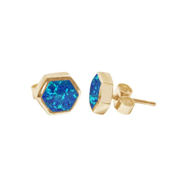 Gold Cobalt Blue Hexagonal Stud Earrings