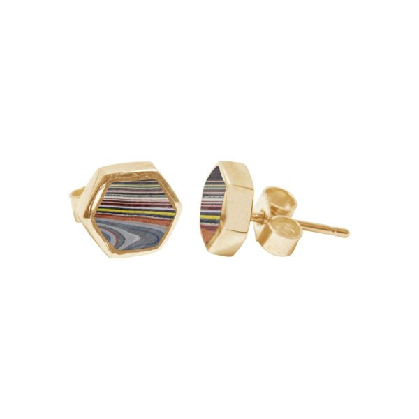 Gold Fordite Hexagonal Stud Earrings