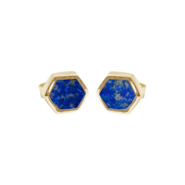 Gold Lapis Hexagonal Stud Earrings