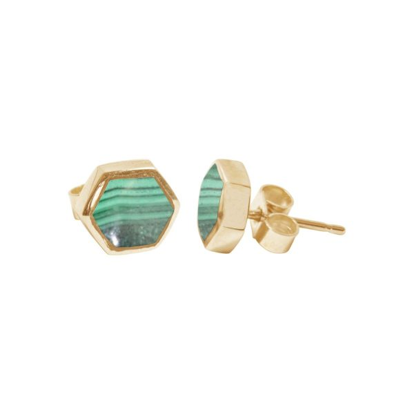 Gold Malachite Hexagonal Stud Earrings