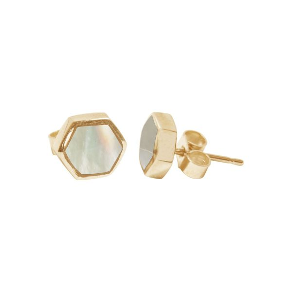 Gold Mother of Pearl Hexagonal Stud Earrings