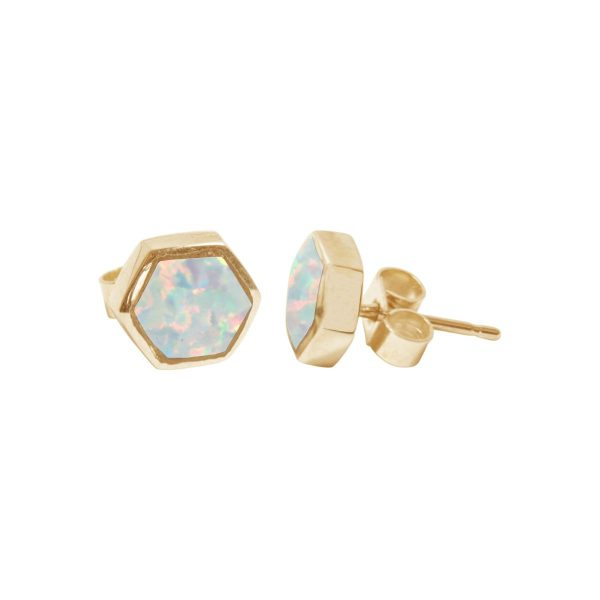 Gold Opalite Sun Ice Hexagonal Stud Earrings