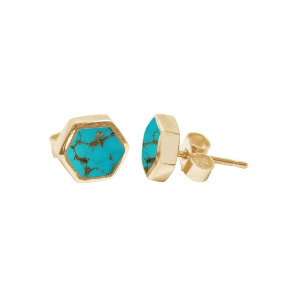 Gold Turquoise Hexagonal Stud Earrings