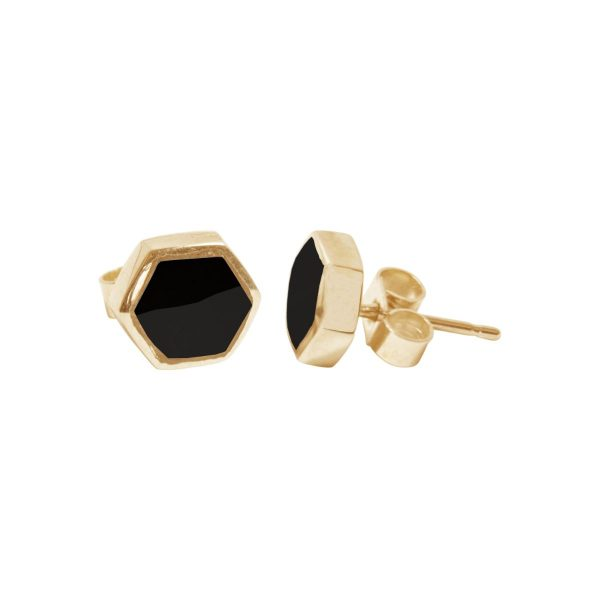 Gold Whitby Jet Hexagonal Stud Earrings