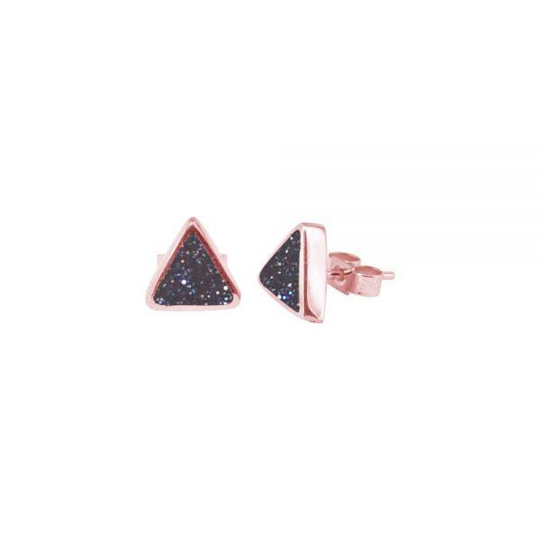 Rose Gold Blue Goldstone Triangular Stud Earrings