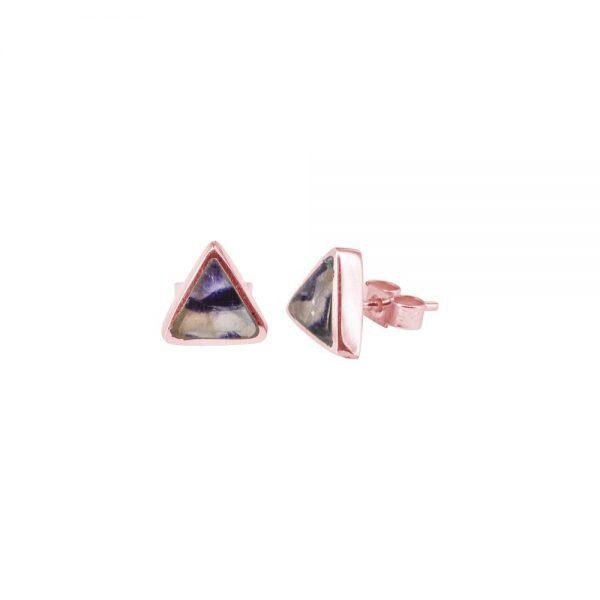 Rose Gold Blue John Triangular Stud Earrings