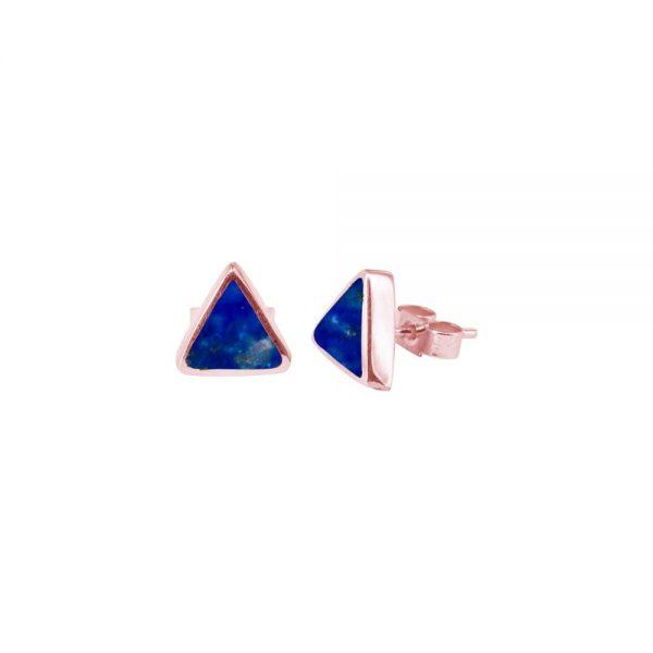 Rose Gold Lapis Triangular Stud Earrings