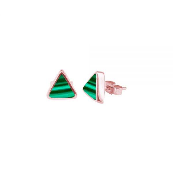 Rose Gold Malachite Triangular Stud Earrings