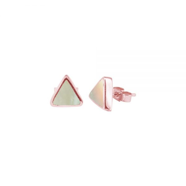 Rose Gold Mother of Pearl Triangular Stud Earrings