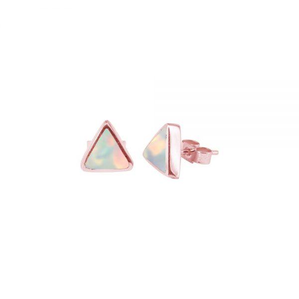 Rose Gold Opalite Sun Ice Triangular Stud Earrings