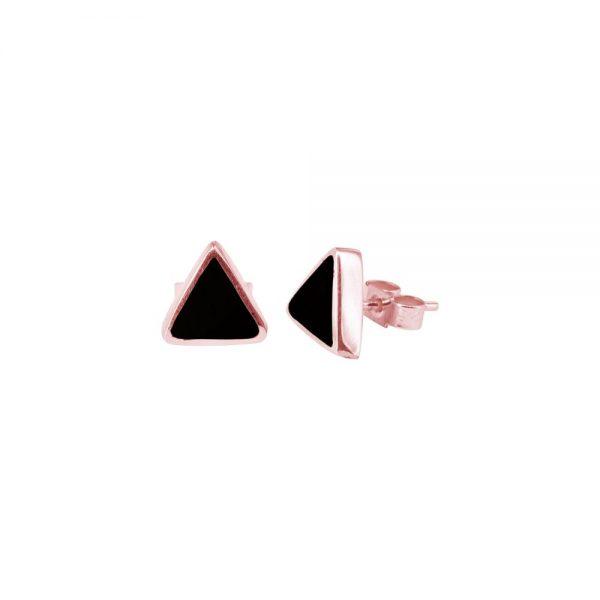 Rose Gold Whitby Jet Triangular Stud Earrings