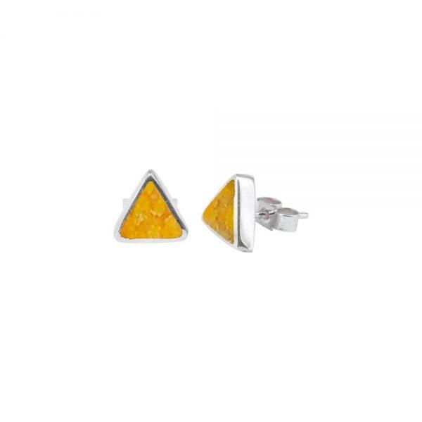 Silver Bumblebee Jasper Triangular Stud Earrings