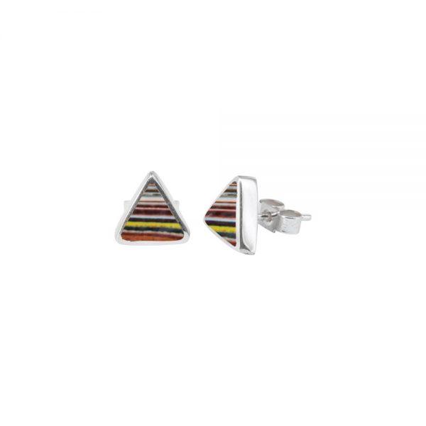 Silver Fordite Triangular Stud Earrings