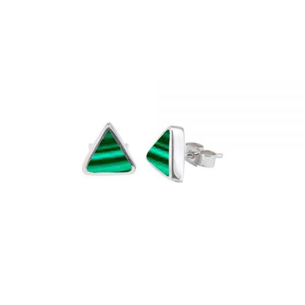 Silver Malachite Triangular Stud Earrings