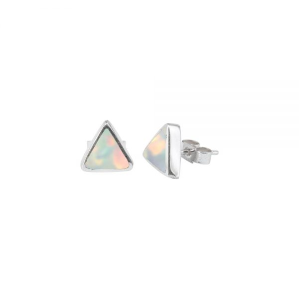 Silver Opalite Sun Ice Triangular Stud Earrings