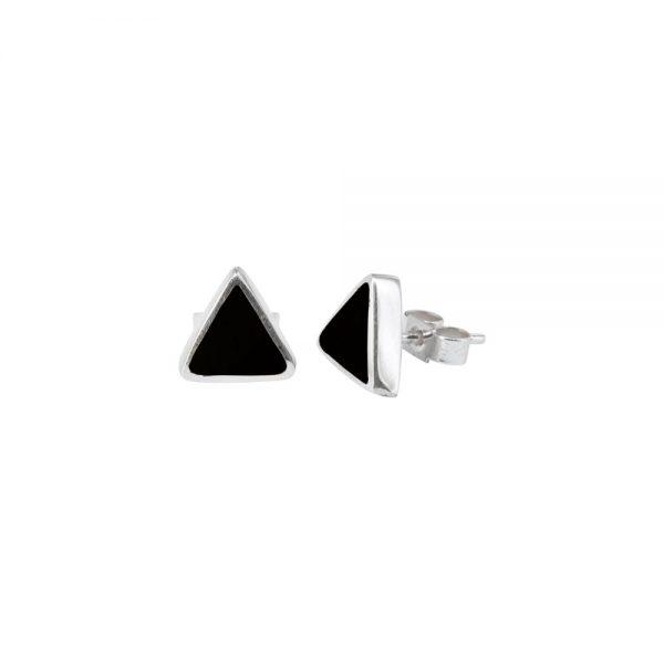 Silver Whitby Jet Triangular Stud Earrings