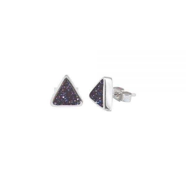 White Gold Blue Goldstone Triangular Stud Earrings