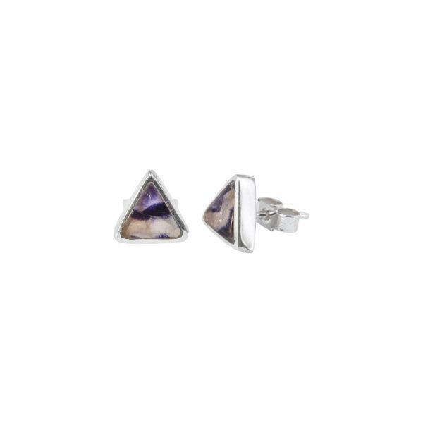 White Gold Blue John Triangular Stud Earrings