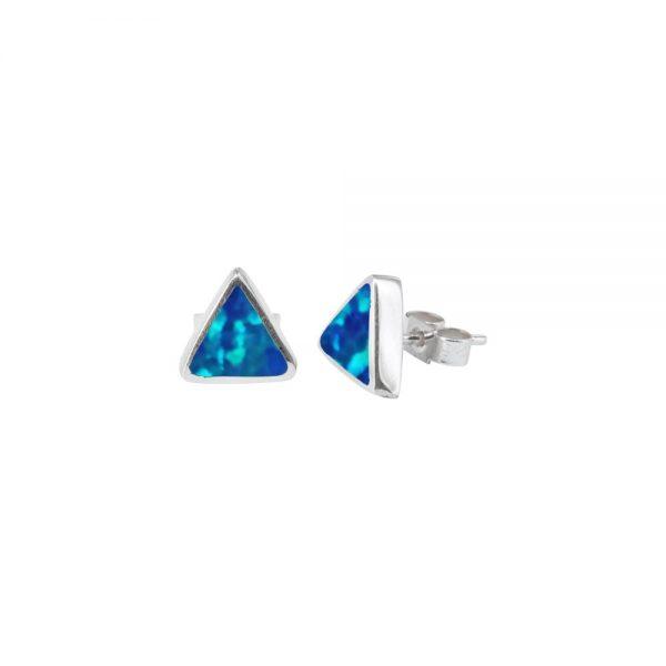 White Gold Opalite Cobalt Blue Triangular Stud Earrings