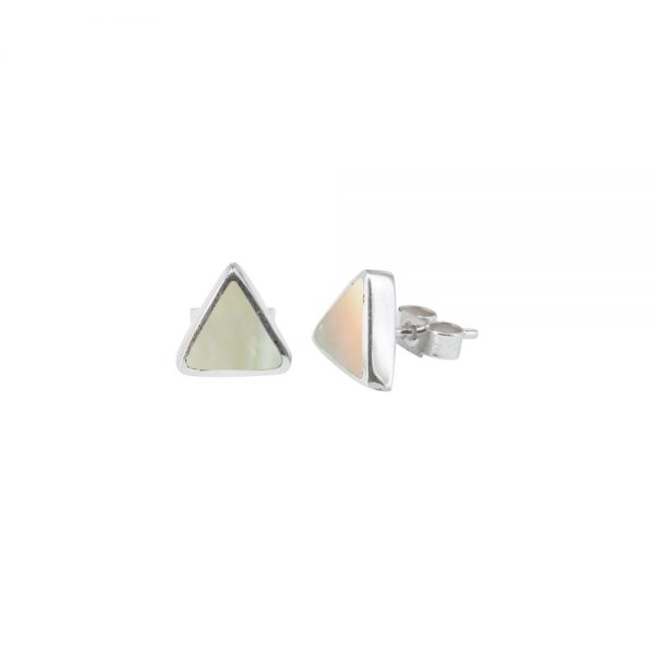 White Gold Mother of Pearl Triangular Stud Earrings