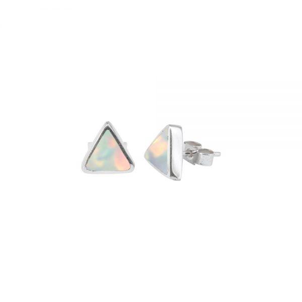 White Gold Opalite Sun Ice Triangular Stud Earrings